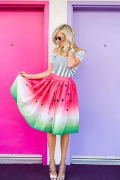 Watermelon skirt and striped off the shoulder top with heels and sunglasses for a cute summer outfit. This statement skirt could easily pair with a black, white, or green tee and gladiator sandals for a more casual outfit. Watermelon Skirt, Watermelon Shoes, Watermelon Crafts, Watermelon Birthday, Dress Skirt, Dress Up, Midi Skirt, Pleated Skirt, Tie Dye Skirt