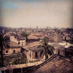 Looking upon the city of Barcelona from the top of the 400+ year old Barcelona Cathedral.