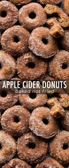 Baked apple cider donuts coated in buttery apple cinnamon spice! Easy and quick … Baked apple cider donuts coated in buttery apple cinnamon spice! Easy and quick baked donuts recipe on sallysbakingaddic… Donuts Beignets, Baked Doughnuts, Donuts Donuts, Baked Donut Recipes, Apple Recipes, Free Recipes, Baked Cider Donuts Recipe, Cake Donut Recipe Baked, Apple Cider Doughnut Recipe