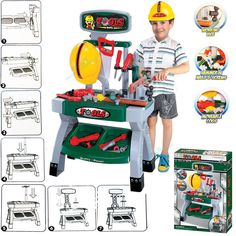 Kids Childrens Work Bench Play Set 45+ Tools Hat DIY Tool Kit Construction Toys