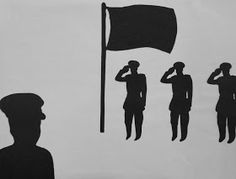 Some simple silhouettes out of black construction paper on white paper. The students used a variety of photographs from books to help them . Remembrance Day Art, Black Construction Paper, Anzac Day, Work Activities, Library Displays, Veterans Day, Art Therapy, Ww2, Art Projects