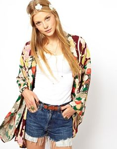 ASOS Oversized Kimono In Cut About Oriental Floral Print