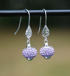 handmade sterling earrings, lilac crystal earrings, purple crystal earring, lavender crystal earrings, sterling silver filigree earrings by KarmaKittyJewelry on Etsy