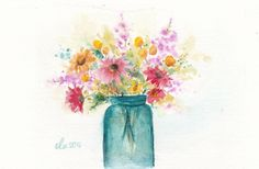 Flowers watercolor painting by Springscolor on Etsy