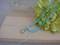 Gorgeous Greek Macrame Turquoise Blue Tear Drop Evil Eye Necklace by ForThatSpecialDay on Etsy