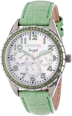 Invicta Women's 12605 Angel Stainless Steel, Lime Green Leather, and Crystal Watch.  Bringing you the best luxury watches online at the most affordable prices for premium brand name watches: http://www.bestwatches1st.com/#!invicta-angel-watch-collection/kb04e
