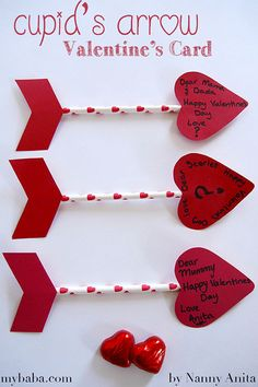 Make a slightly different valentine's card this year by making these Cupid's Arrow Valentine's cards instead. Valentine's Day Crafts For Kids, Diy Arts And Crafts, Craft Stick Crafts, Diy Crafts, Valentine Day Crafts, Holiday Crafts, Valentines, Valentine Ideas, Bow Arrows