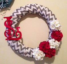 STL cardinals wreath or pick your team and colors   on Etsy, $55.00