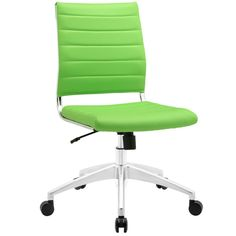 Awesome Lime Green Vinyl Swivel Desk Chair With Pneumatic Pump And Recliner  As Well As Armless