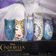 Love these beautiful Cinderella inspired gift nails by Tammy Taylor's Creative Director, Gisela Marti! SO talented! She made her own custom blends with Tammy Taylor products to create these fun and magical nails!  tammytaylornails.com
