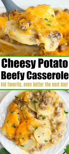 Cheesy Ground Beef Potato Casserole is the New Favorite Breakfast Bake Cheesy ground beef casserole with potatoes is perfect for breakfast or a potluck! Like cheeseburger scalloped potatoes, this will become a family fave. Ground Beef Recipes For Dinner, Dinner With Ground Beef, Easy Dinner Recipes, Casseroles With Ground Beef, Easy Beef Recipes, Easy Dinners, Chicken Recipes, Recipes For Casseroles, Recepies With Ground Beef