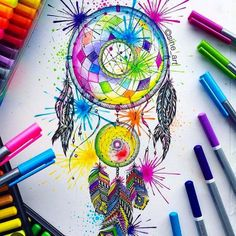♏The Glitch♏ — Dream Catcher by. Mandala Art, Mandala Drawing, Doodle Art Drawing, Pencil Art Drawings, Unique Drawings, Sharpie Art, Dot Art Painting, Marker Art, Art Pages