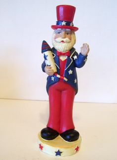 6 IN PATRIOTIC UNCLE SAM FIGURINE WITH FIRECRACKER RESIN DECORATION 4TH OF JULY