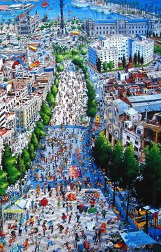 La Rambla is pedestrianised with only two narrow one-way traffic roads which run on either side of the central Ramblas Boulevard - Spain