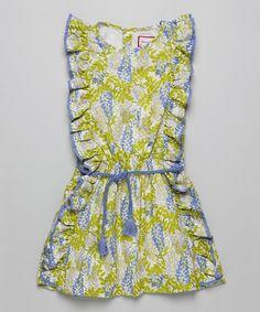 Love this Blue & Green Floral Frill Dress - Infant, Toddler & Girls on #zulily! #zulilyfinds