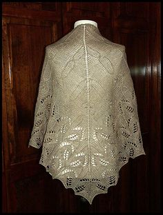"""Vinorina"" knit lace shawl in wool fingering weight yarn (pattern by Kitman Figueroa)"