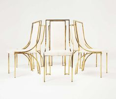 Set of 6 high back brass chairs