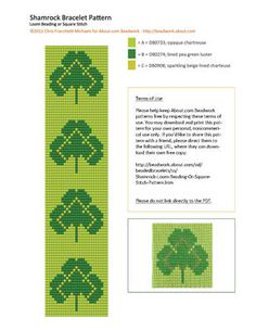 Shamrock Loom Beading or Square Stitch Pattern