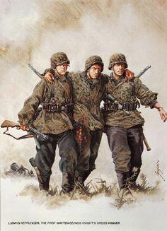 D: Ludwig Kepplinger, el primer sargento de las Waffen-SS en recibir la Cruz de Caballero .Kepplinger fue condecorado con la Cruz de Caballero por su valentía en el asalto de un bunker enemigo, parte de la línea de defensa Grebbe, completamente solo.