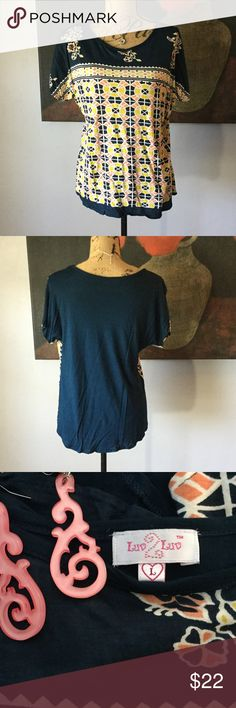 Cute T-shirt by luv 2 luv Super cute navy tee with peach, yellow and white design. Back is solid navy. 100% viscose Luv 2 Luv Tops Tees - Short Sleeve