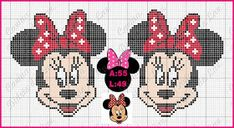 Disney Stitch, Minnie Baby, Mickey Minnie Mouse, Disney Cross Stitch Patterns, Cross Stitch Charts, Valentine Gift Baskets, Valentine Gifts, Mickey Mouse Characters, Beaded Animals