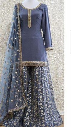 Buy Gray Color Sharara Suit by Akanksha Singh at Fresh Look Fashion Party Wear Indian Dresses, Pakistani Fashion Party Wear, Designer Party Wear Dresses, Pakistani Dresses Casual, Pakistani Wedding Outfits, Dress Indian Style, Indian Gowns, Pakistani Dress Design, Indian Designer Outfits