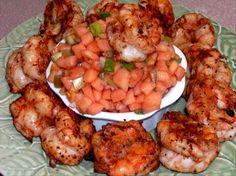 Ww 3 Points - Spicy Shrimp With Papaya Salsa. Photo by Rita~ Ww Recipes, Seafood Recipes, Healthy Recipes, Healthy Options, Healthy Foods, Zero Calorie Foods, Shrimp Dishes, Spicy Shrimp