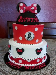 """Classic Red Minnie Mouse cake - 8"""" and 11"""" rounds all frosted in Pastry Pride. All decorations are gumpaste and tip tier was airbrushed in red. The hat is RKT covered in fondant, ears and bow are gumpaste/"""