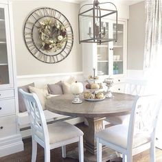 Good Morning😍 I'm just cleaning the house. and putting pumpkins everywhere I go🍂🍃🍁🎃 Kitchen Nook Table, Kitchen Table Makeover, Kitchen Dinning, Dining Nook, Kitchen Decor, Eat In Kitchen, Wooden Kitchen, Small Dining, Round Dining Table