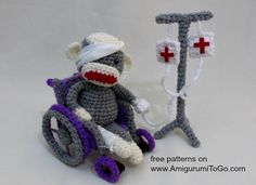 Amigurumi To Go: Free Pattern For Sick Sock Monkey in a Wheelchair with and IV Drip Pole!