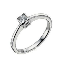 Ernest Jones - 9ct white gold 0.12 carat diamond solitaire ring