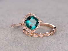 7mm Cushion Emerald Wedding Set Diamond Bridal Ring 14k Rose Gold Retro Vintage Floral