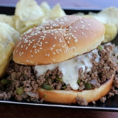 Print Philly Cheese steak Sloppy Joes Recipe type: Entree Ingredients 1 lb ground beef 1 small sweet onion chopped 1 green bell pepper seeded and chopped ¼ cup steak sauce (like 1 cup beef broth provolone cheese buns Instructions. I Love Food, Good Food, Yummy Food, Beef Dishes, Food Dishes, Main Dishes, Tostadas, Tacos, Beef Recipes