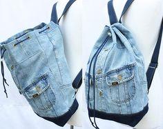 Jeans-Rucksack umgewidmet Jean Jacke großen Eimer Kordelzug Tasche Vintage 80er Jahre der 90er Grunge Rucksack Hipster Upcycled recycelt Laptophülle