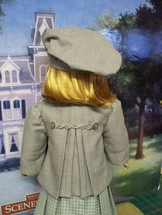Reefer Jacket with back pleats and braided detail. Another photo pulled from Keepers archives! Sewing Doll Clothes, Girl Doll Clothes, Doll Clothes Patterns, Girl Dolls, Ag Dolls, Doll Patterns, Clothing Patterns, American Girl Doll Samantha, American Girl Crafts