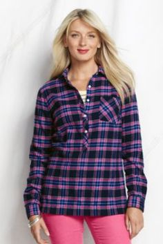 Women's Long Sleeve 2-pocket Flannel Tunic from Lands' End (radiant navy plaid -not the pink)