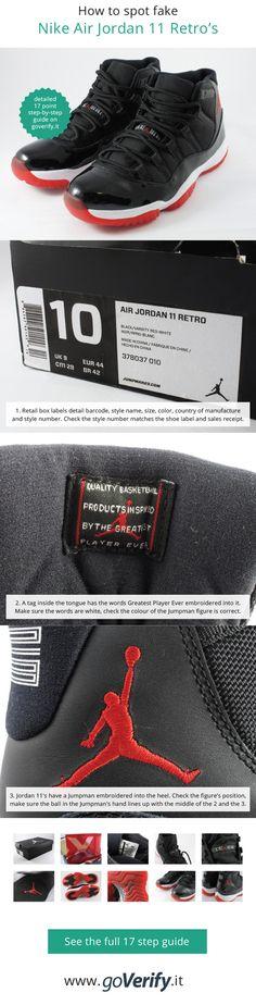 premium selection 35639 2894f How to spot fake Nike Air Jordan 11 Retro s, go to www.goverify.
