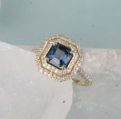 RESERVED 7th Installment Payment for 14k Gold Double Diamond Halo Asscher Cut Blue Sapphire Engagement Ring Anniversary Ring Weddings