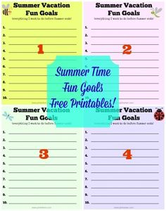 """Summer Vacation Fun Goals Free Printables--I like calling them """"fun goals"""" instead of a bucket list"""