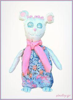Handmade bear from fabric for little girls!! pinelop.gr facebook.com/pinelopkallitexnimata Little Girls, Cinderella, Disney Characters, Fictional Characters, Bear, Facebook, Disney Princess, Fabric, Cards