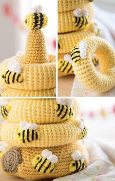 6 Easy to Crochet Toys for Baby – Baby Stackables Baby Stacks – 6 Easy Toys to Crochet Colorful yarns and embroidery floss details combine to create these delightful stacking toys. Baby Stacks from Leisure Arts presents 6 easy crochet designs using me Crochet Mignon, Crochet Bee, Crochet Simple, Crochet Baby Toys, Crochet Gratis, Crochet Toys Patterns, Cute Crochet, Stuffed Toys Patterns, Baby Blanket Crochet