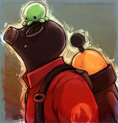 pyro being adorable. although he is always adorable. Pyro (C) Valve art (C) me Little green friend Tf2 Pyro, Tf2 Memes, Avatar, Team Fortess 2, Funny Video Memes, Best Games, Cute Art, Geek Stuff, Fan Art