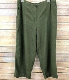 3183fbc53e9a7 Details about J Jill Womens Cropped Pants Olive Green Loose Fit Size Large  Linen Blend Relaxed