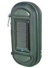 Jaguar to trwałe etui z wbudowanymi głośnikami, ogniwem solarnym i akumulatorem. Doskonałe do smartfonów, telefonów, odtwarzaczy mp3, odtwarzaczy mp4 i przenośnych radioodbiorników. / Jaguar is a combined Solar-USB powered powerbank-charger and speaker. Keep your mobile and accessories in this handy pouch. Plug your mobile phone in to enjoy a great audio experience through the 2 x 3W integrated speakers. Charge your mobile phone with the integrated battery. PLN149.99 / $50