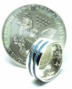 Sodalite and American silver eagle dollar coin birthstone ring Silver Eagle Coins, Silver Eagles, Silver Wedding Bands, Wedding Ring Bands, Coin Ring, Dollar Coin, Birthstone Jewelry, Birthstones, Rings For Men