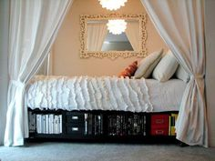 17 Ways To Make Your Bed The Coziest Place On Earth If your bed is in a nook, Adding a wall mirror and light will keep it extra cozy and make sure it's not too dark. Get more info on this cool small-space DIY at Apartment Therapy Small Apartments, Small Spaces, Small Rooms, Alcove Bed, Bed Nook, Deco Studio, Captains Bed, Cheap Apartment, Under Bed Storage