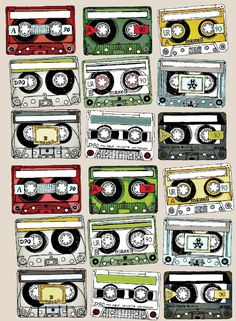 Mix tape drawings- free printable- use for gift tags! by Cart Before the Horse