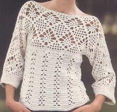 Egyszerű szín, kellemes csipkeminta teszi bájossá a pulóvert. A szabásvonala egyszerű, kezdők is bátran meghorgolhatják, a siker nem fog elmaradni. Kétféle csipkeminta emeli ki a különlegességét  minta séma séma 2 szabásminta...