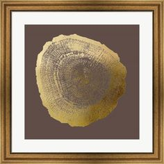 Gold Foil Tree Ring IV on Bitter Chocolate by Vision studio Framed Art Print Wall Picture, Wide Gold Frame, 28 x 38 inches