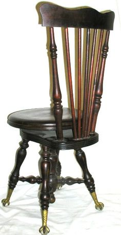 ANTIQUE CLAW FOOT PIANO STOOL HIGH BACK My Mom Used One Like This To Learn  To